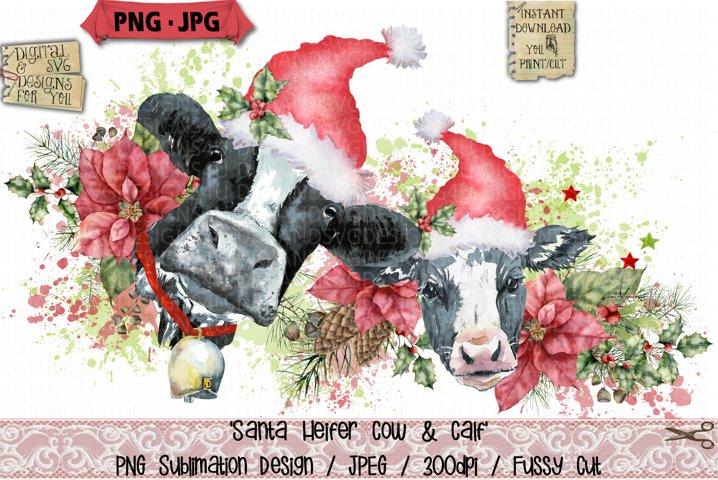 Heifer Cow and Calf | Santa | Christmas Sublimation | PNG