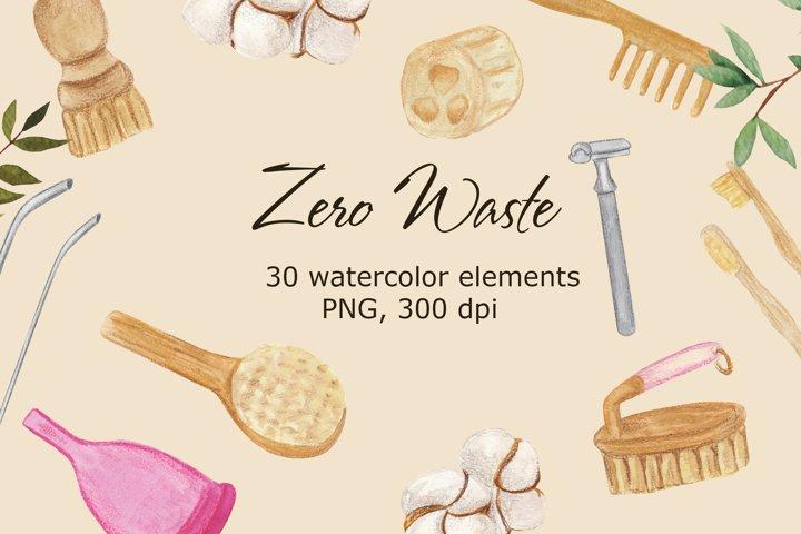 Zero Waste watercolor clip art. Personal hygiene art