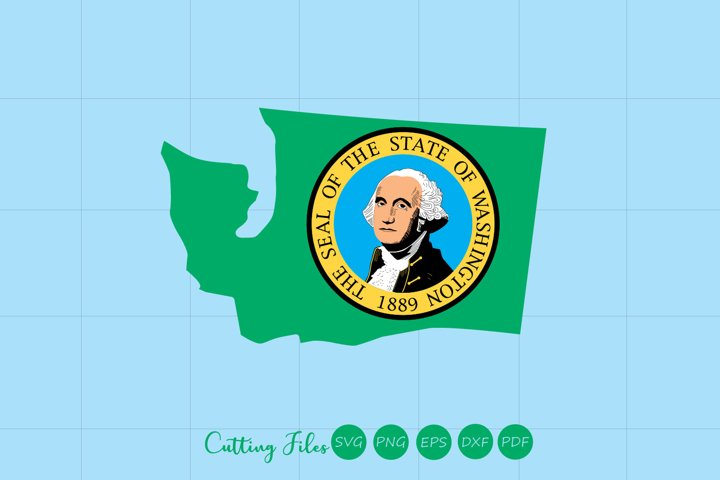WA state with flag background