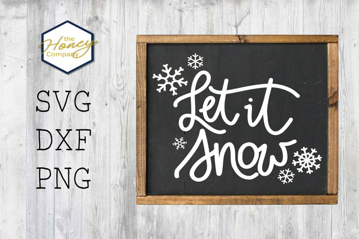 Let it Snow Christmas Lights SVG PNG DXF Snowflake Cut File