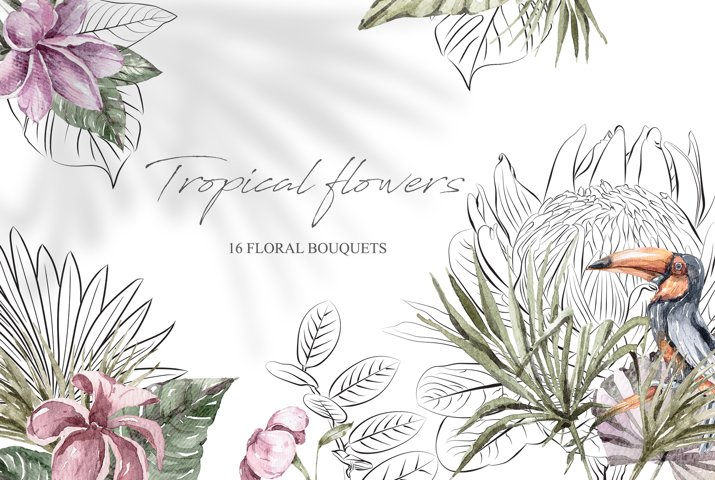 Watercolor and fine art tropical leaves clipart