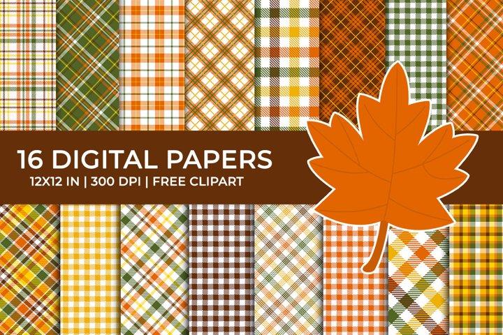 Autumn Plaid Digital Papers Set, Free Fall Leaf Clipart