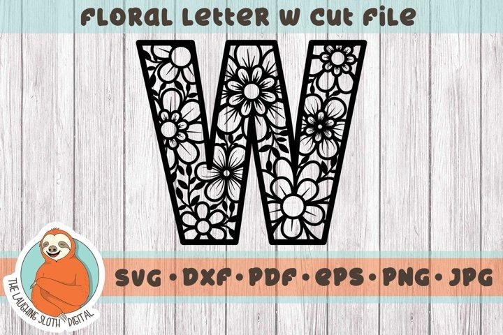 Flower Filled Letter W SVG - Floral Letter Cut File