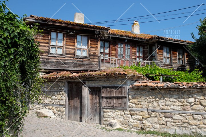 Typical house in ancient town of Nessebar, Bulgaria
