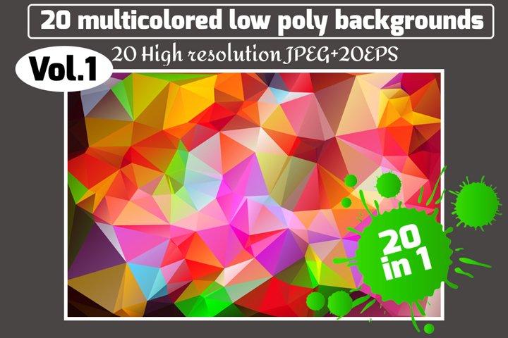 Polygon vector backgrounds set