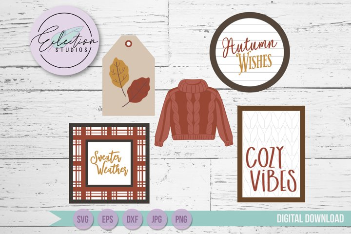Fall Sweater Theme Tiered Tray Mini Sign Laser SVG Bundle