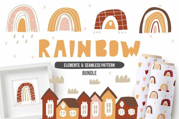 Rainbows set. Boho style.