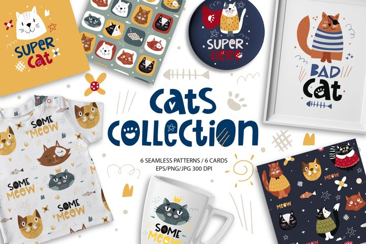 Collection of funny cats. Digital papers and cards design.