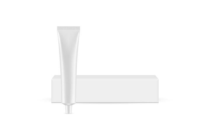 Metallic Cosmetic Tube with Horizontal Box Mockup