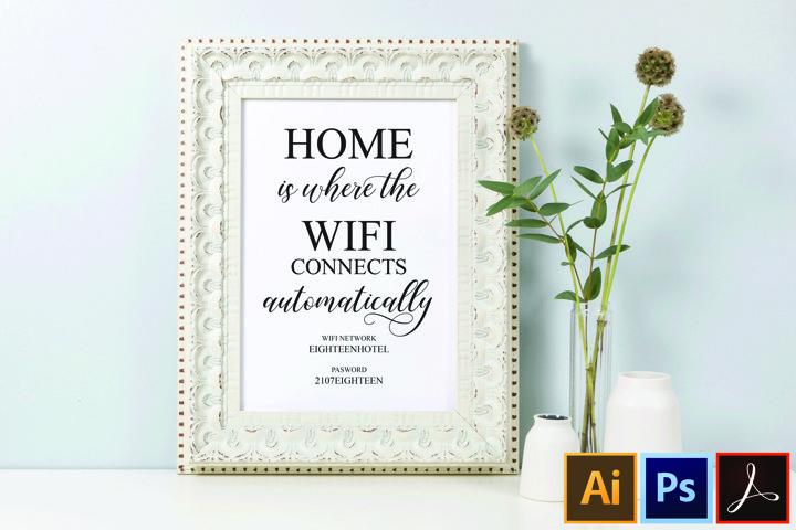 Printable Wifi password sign, Guest Room Wifi Password