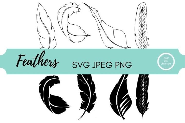 Modern feathers | single line and cut file