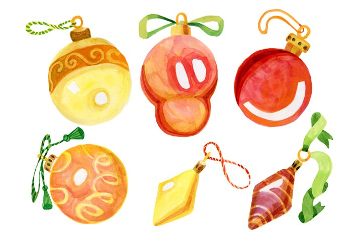 Decorations on the Christmas tree isolated watercolor glass
