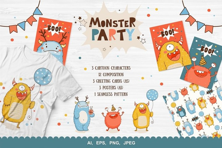 Monsters party vector collection. Cards, posters, patern