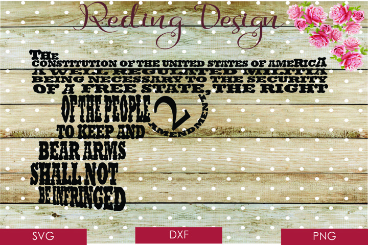 2nd Amendment Gun  SVG DXF PNG Digital Cut Files