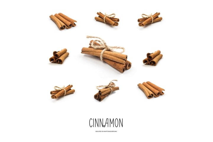 Dry Cinnamon Sticks Isolated on White Background.