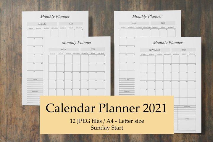 Monthly Calendar Planner 2021