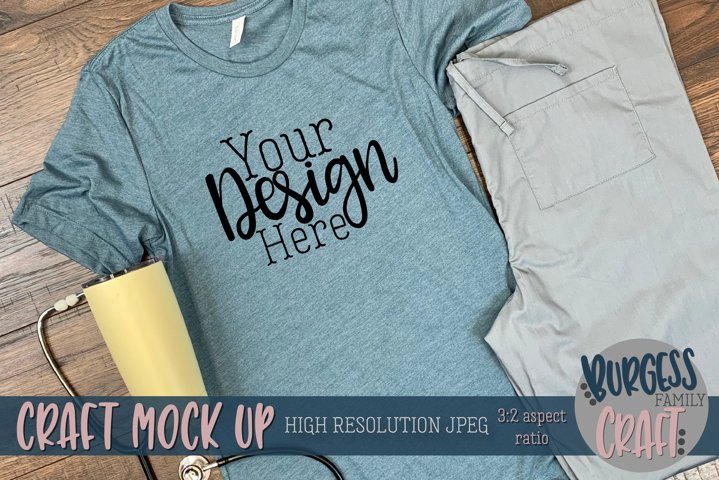 Dark blue t-shirt Doctor/Nurse Craft mock up | High Res JPEG example