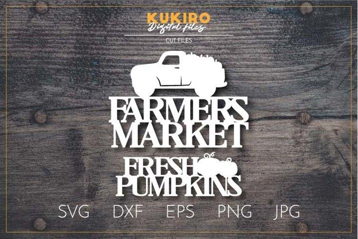 Farmers Market Fresh Pumpkins SVG DXF- Fall Laser cut - Cnc