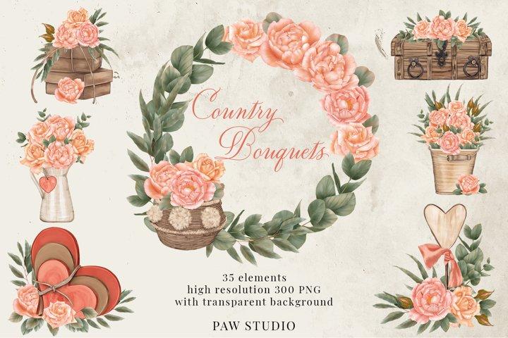 Roses Frames Bouquets Borders Wreaths Bohemian Clipart