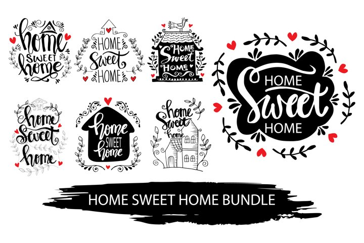 Home sweet home hand lettering quotes