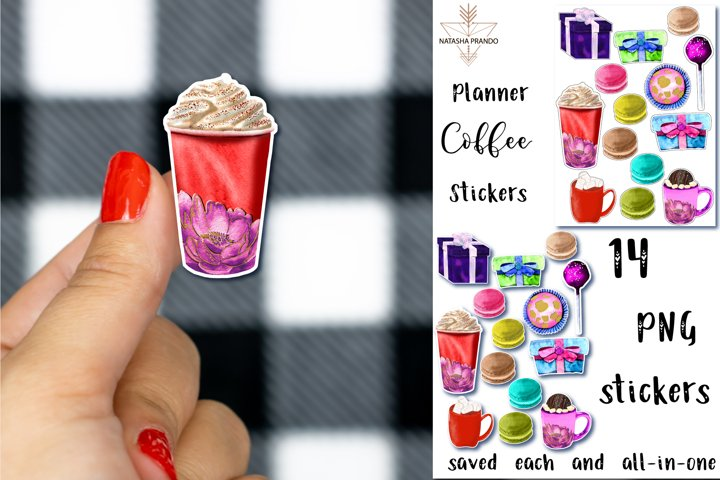 Coffee and Sweets Stickers, 14 Printable Stickers, Planner