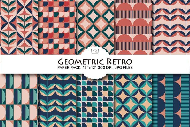 Geometric Retro digital paper pack, retro wrapping paper