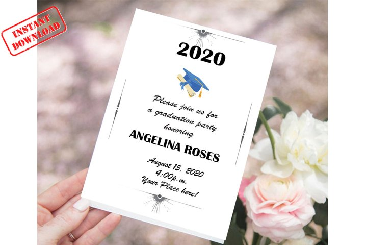 Invitation Template editable text | Graduation Invitation