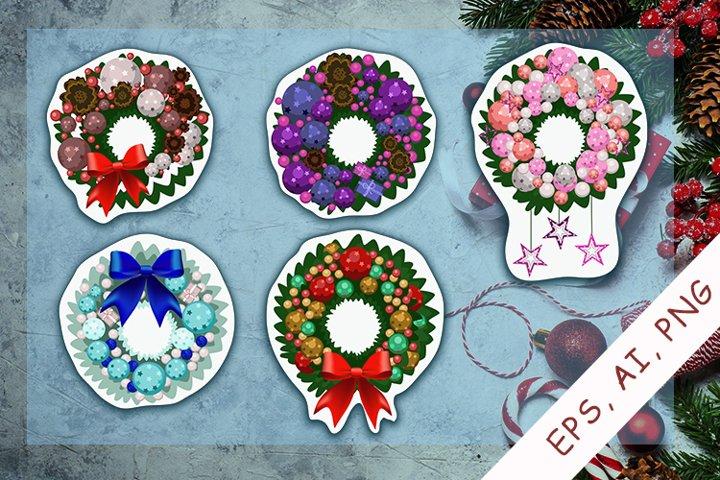 Christmas wreath EPS, AI, PNG| Stickers Bundle