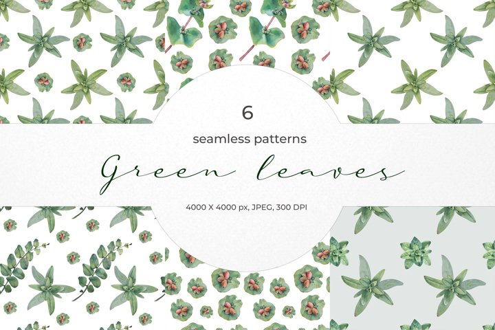 Green leaves seamless patterns.