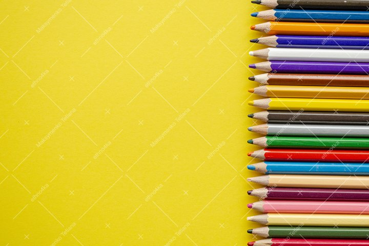 Set of decorative frames with crayons on yellow background.