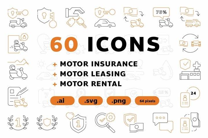 60 icons MOTOR INSURANCE