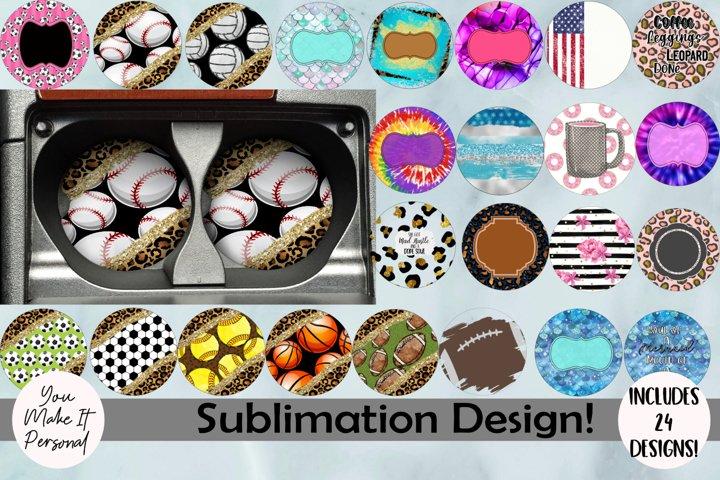 Sublimation Car Coaster Bundle, Includes 24 Designs!