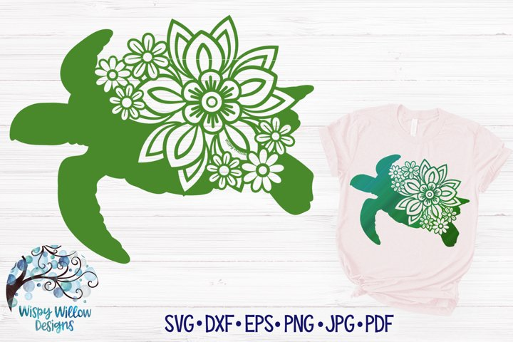 Floral Turtle SVG| Sea Turtle with Flowers SVG Cut File