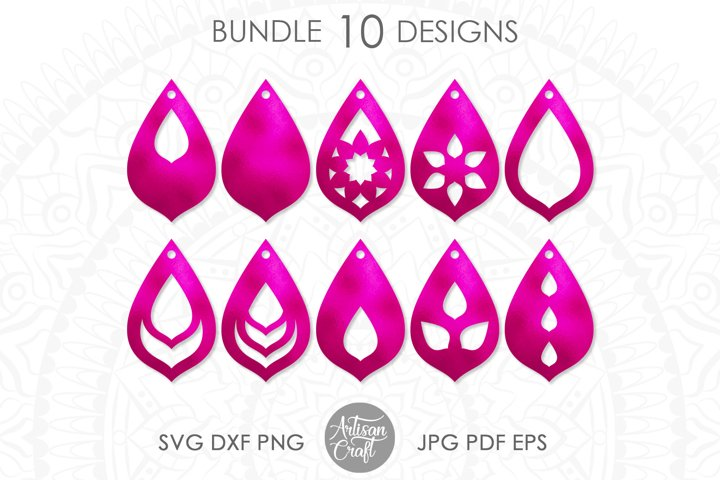 Teardrop earrings,SVG, cut file, leather earrings SVG