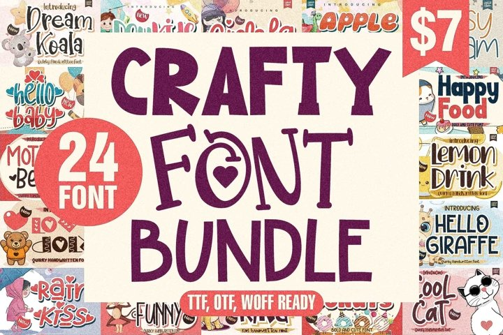 Crafty Font Bundle - 24 Unique Font