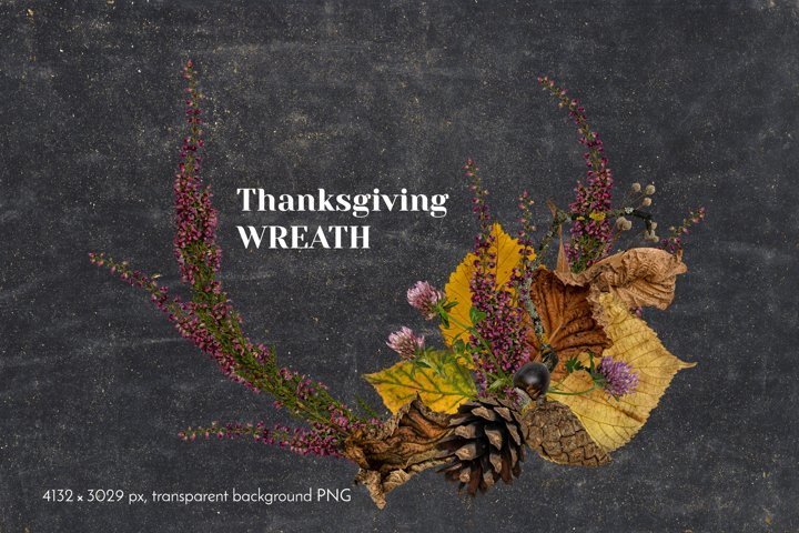 Cutout Autumn Leaves and Flowers Thanksgiving Wreath