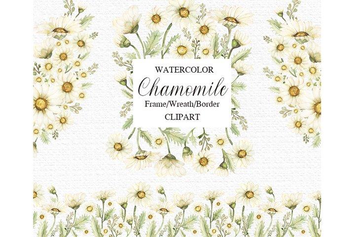 Watercolor Chamomile Wreath Frame Border set