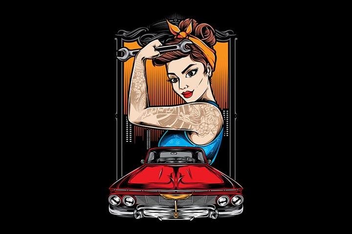 Rockabilly Girl Mechanic