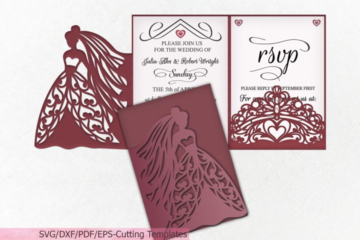 Princess Bride Crown Wedding invitation Trifold template svg
