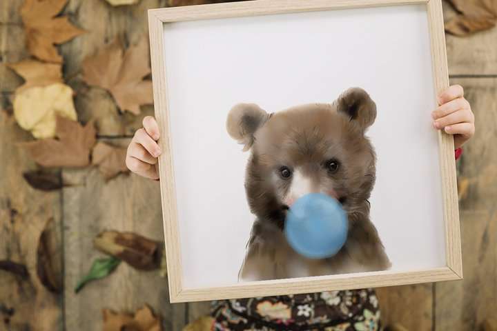 Bear with bubblegum print, PRINTABLE ART, Girls room art