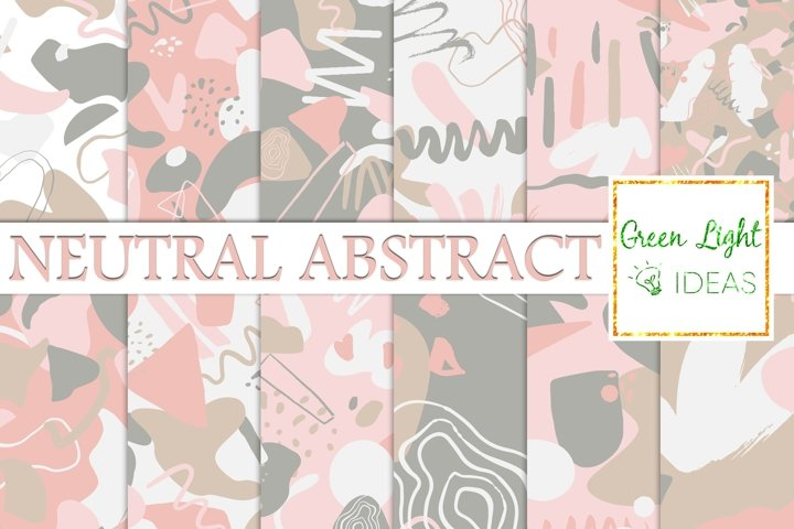 Neutral Abstract Digital Papers, Geometric Seamless Patterns