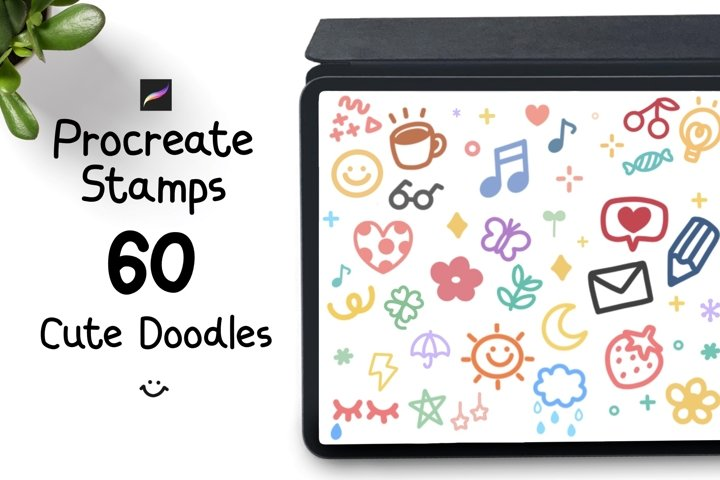 Procreate Stamps 60 cute doodles