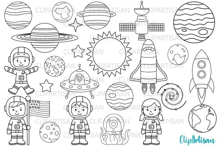 Astronauts in Space Digital Stamps