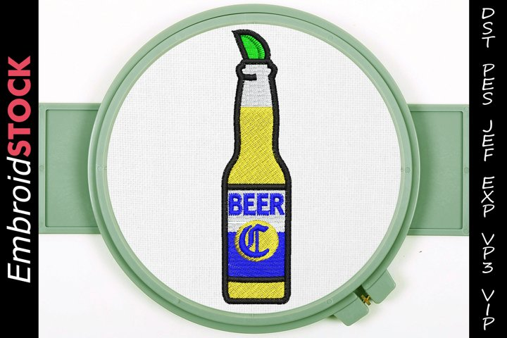 Beer with Lime Embroidery Design