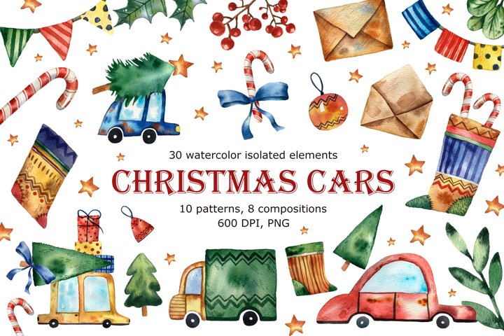 Christmas Cars - Watercolor Clip Art