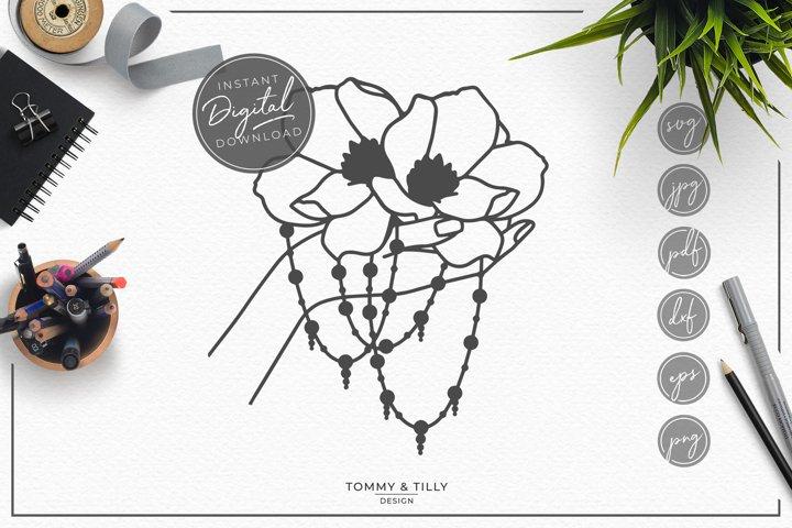 Hand Holding Flower - SVG EPS DXF PNG PDF JPG
