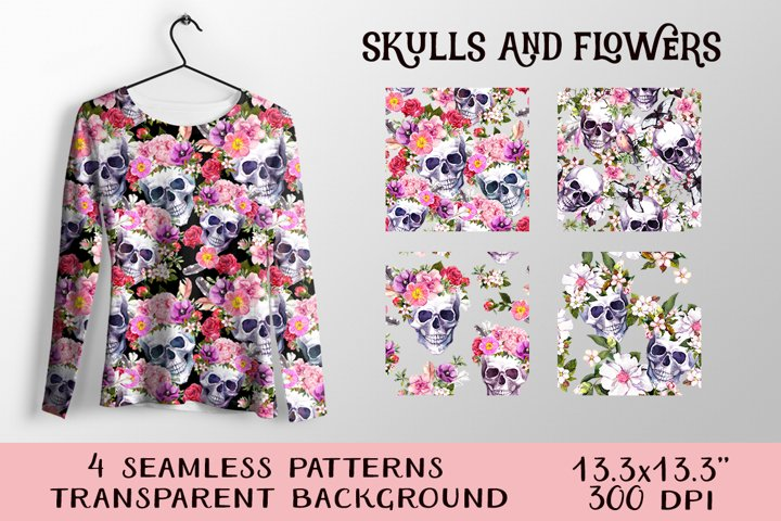Skulls and flowers. Watercolor seamless patterns pack in PNG