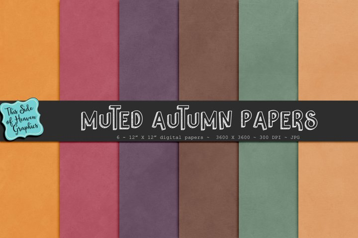 Textured Digital Scrapbook Papers - Muted Autumn