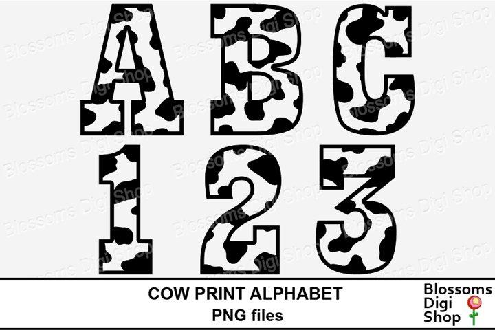 Cow Print Alphabet Clipart