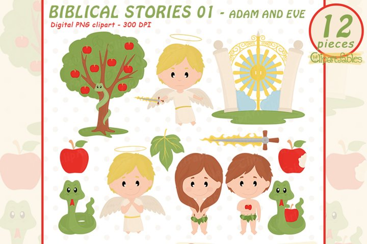 Cute ADAM and EVE clipart, Biblical story - INSTANT download